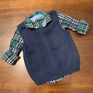 Gymboree Sweater Vest and Plaid Long Sleeve Shirt